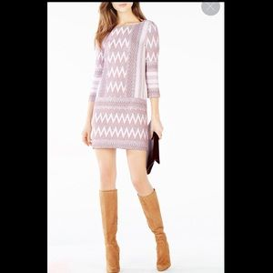 BCBGMaxazria Beth Zigzag Knit Jacquard Dress